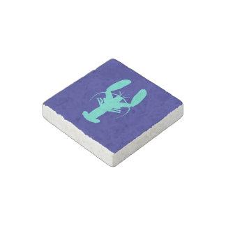 Turquoise Lobster On Navy Blue Coastal Decor Stone Magnets