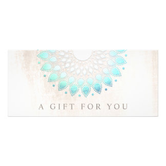 Turquoise Lotus Floral Spa Gift Certificate Customized Rack Card