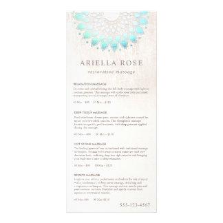 Turquoise Lotus Massage Therapist Price List Menu Rack Card