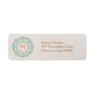 Turquoise Lotus Monogrammed Return Address Labels