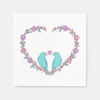 Turquoise Lovebirds Floral Purple Heart Wedding Napkin