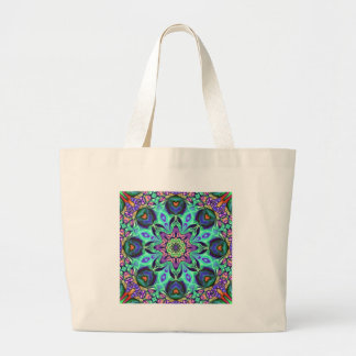 Turquoise Mandala Abstract Large Tote Bag