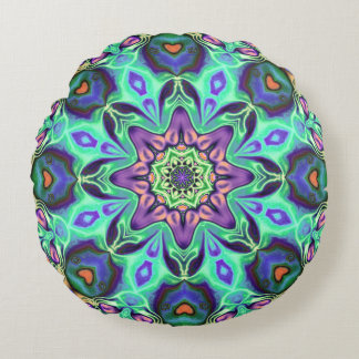 Turquoise Mandala Abstract Round Pillow