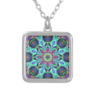 Turquoise Mandala Abstract Silver Plated Necklace