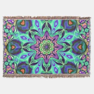 Turquoise Mandala Abstract Throw Blanket