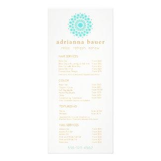 Turquoise Mandala Spa Salon Price List Menu Customized Rack Card