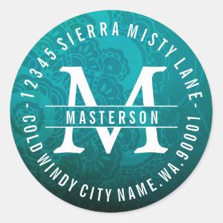 Turquoise Mandala Zen Circle Return Address Label