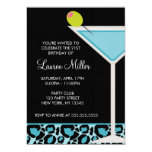 "Turquoise Martini and Leopard Print 5"" X 7"" Invitation Card"