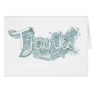 Turquoise Mehndi Art Thank You Card