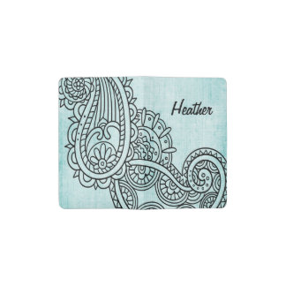 Turquoise Mehndi Motif Pocket Notebook