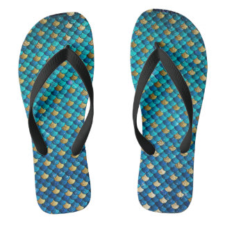 Turquoise Mermaid Scale Flip Flops