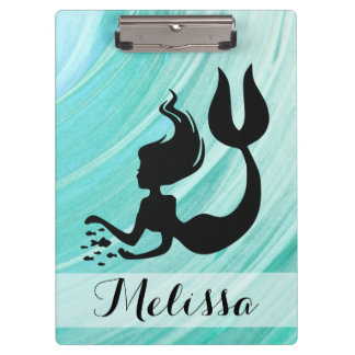 Turquoise Mermaid Silhouette Clipboard