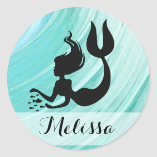 Turquoise Mermaid Silhouette Name Stickers