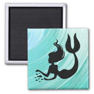 Turquoise Mermaid Silhouette Square Magnet