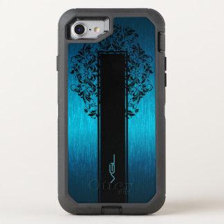 Turquoise Metallic Texture-Black Lace & Stripe OtterBox Defender iPhone 8/7 Case