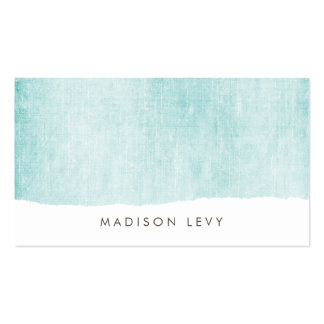 Turquoise Minimalist Distressed Torn  Cards Business Card
