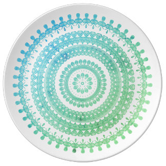 Turquoise Mint Green Boho Tribal Folk Gypsy Hippy Plate