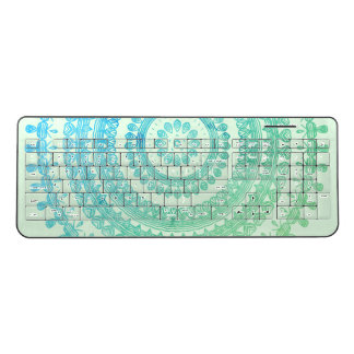 Turquoise Mint Green Boho Tribal Folk Gypsy Hippy Wireless Keyboard