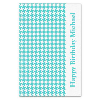Turquoise Modern Houndstooth w/custom message Tissue Paper
