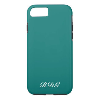 Turquoise Modern Professional White Monogram iPhone 8/7 Case