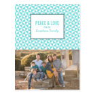 Turquoise Modern Triangles Holiday Photo Postcard