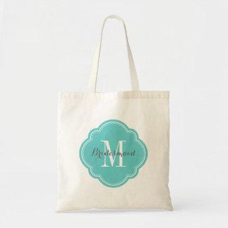 Turquoise Monogram Bridesmaid Tote Bag