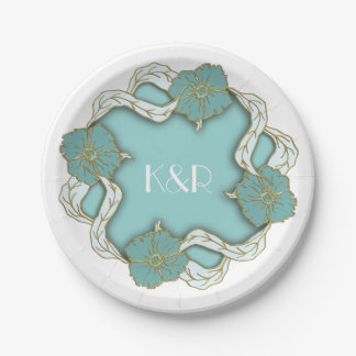 Turquoise Monogram floral wedding Paper Plate