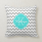 Turquoise Monogram Grey Chevron Pattern Throw Pillow