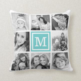Turquoise Monogram Instagram Photo Collage Throw Pillows