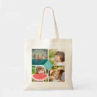 Turquoise Monogram Instagram Photo Collage Tote Bag