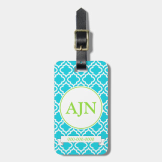 Turquoise Monogram Luggage Tag