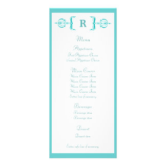 Turquoise Monogram Vintage Wedding Menu Full Colour Rack Card