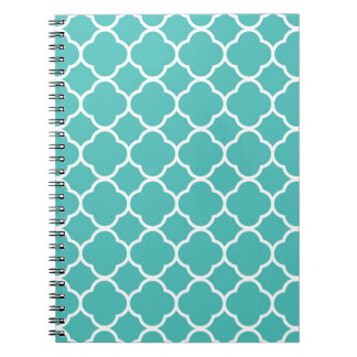 Turquoise Moroccan Pattern Spiral Note Books
