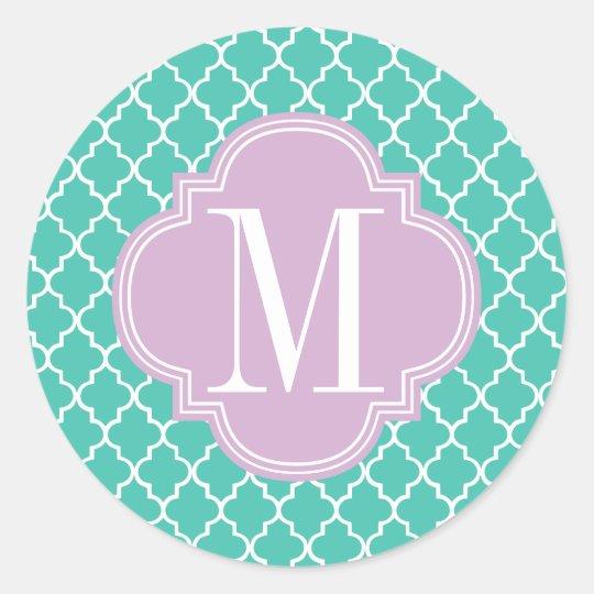 Turquoise Moroccan Tiles Lattice Personalized Classic Round Sticker