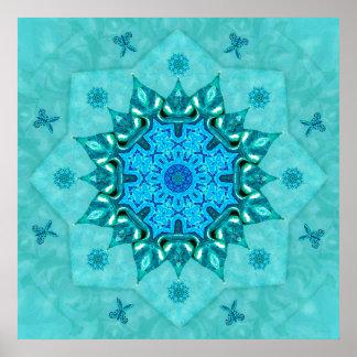 Turquoise Nature Mandala Print