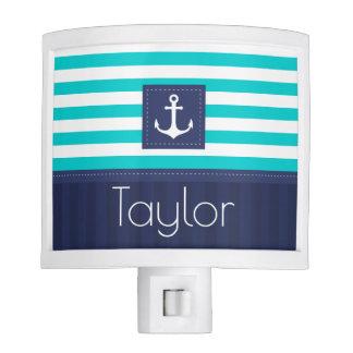 Turquoise Navy Blue Nautical Stripes Anchor Custom Nite Lites