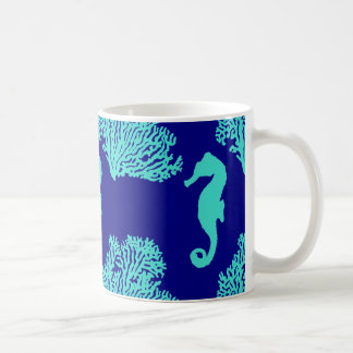 Turquoise Navy Seahorse Coastal Pattern Coffee Mug