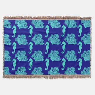 Turquoise Navy Seahorse Coastal Pattern Throw Blanket