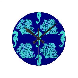 Turquoise Navy Seahorse Coastal Pattern Wall Clock