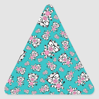Turquoise nerd cow pattern triangle stickers