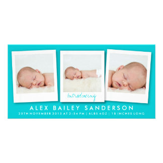 Turquoise New Baby Birth Announcement Photo Card