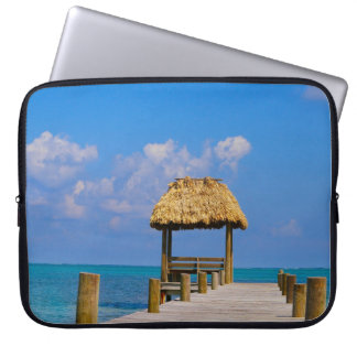 Turquoise ocean and dock laptop sleeve