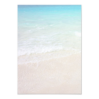 "Turquoise Ocean Beach Sand Background Paper 5"" X 7"" Invitation Card"