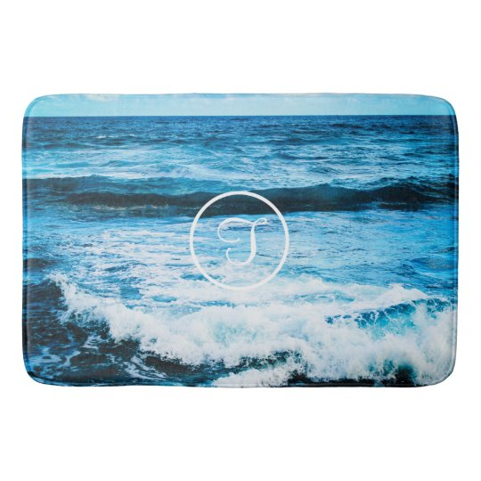 Turquoise ocean photo custom monogram bath mat