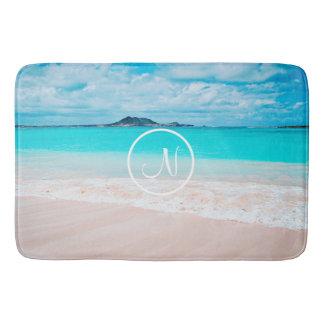 Turquoise ocean sandy beach photo custom monogram bath mat