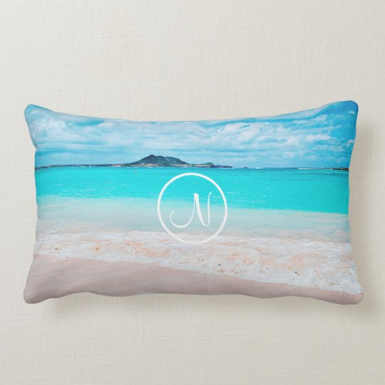 Turquoise Ocean Sandy Beach Photo Custom Monogram Lumbar Pillow