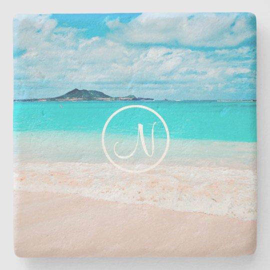 Turquoise ocean sandy beach photo custom monogram stone coaster