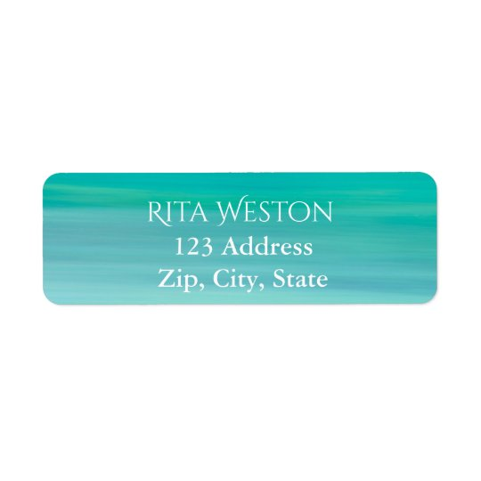 Turquoise ocean sea water address return label
