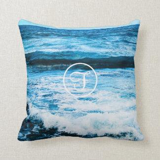 Turquoise ocean waves photo custom monogram pillow