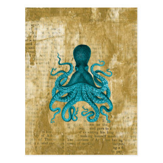 Turquoise Octopus on Golden Grunge Postcard